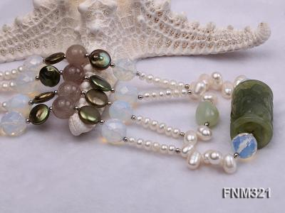 2 strand freshwater pearl and gemstone necklace FNM321 Image 5