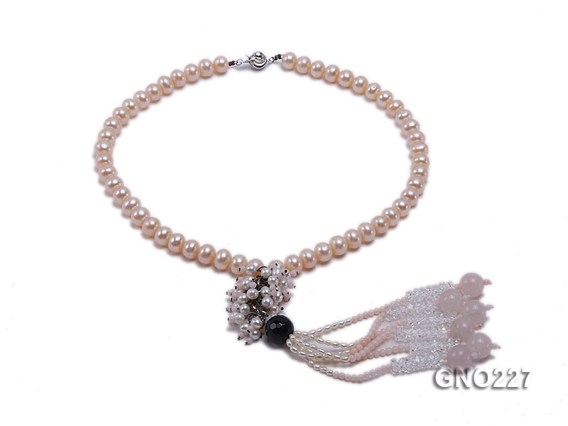 8-9mm natural pink flat freshwater pearl with black agate pink coral and white crystal necklace big Image 1