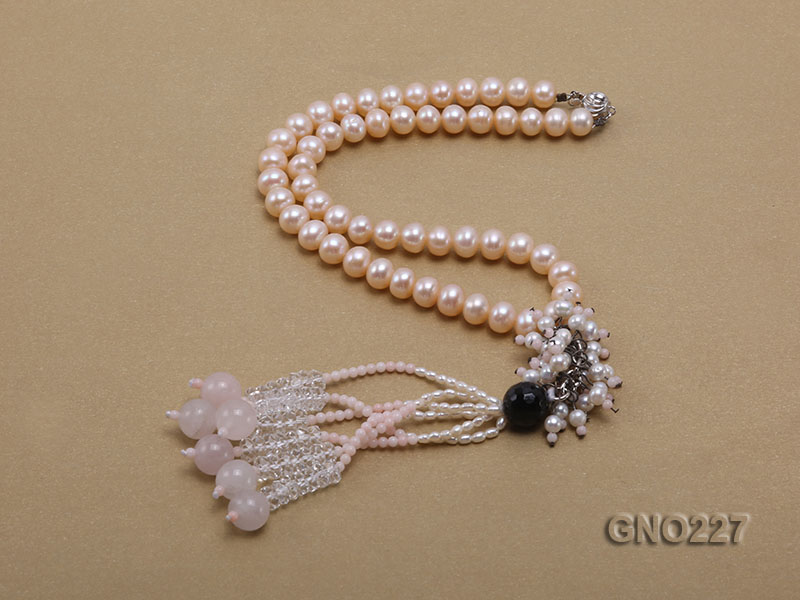 8-9mm natural pink flat freshwater pearl with black agate pink coral and white crystal necklace big Image 2