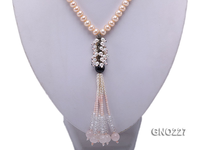 8-9mm natural pink flat freshwater pearl with black agate pink coral and white crystal necklace big Image 5