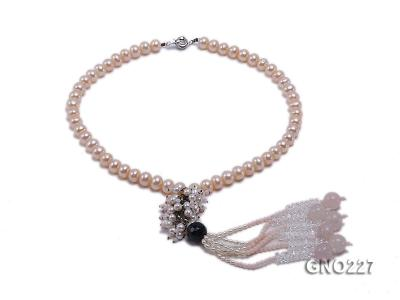 8-9mm natural pink flat freshwater pearl with black agate pink coral and white crystal necklace GNO227 Image 1