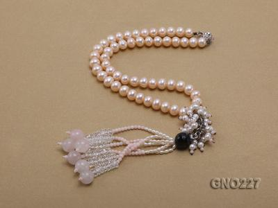 8-9mm natural pink flat freshwater pearl with black agate pink coral and white crystal necklace GNO227 Image 2