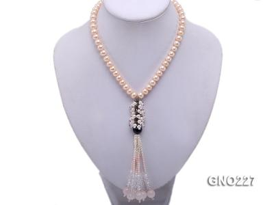 8-9mm natural pink flat freshwater pearl with black agate pink coral and white crystal necklace GNO227 Image 4