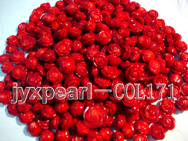 Wholesale 17-18.5mm Flower-shaped Red Loose Coral Beads big Image 1