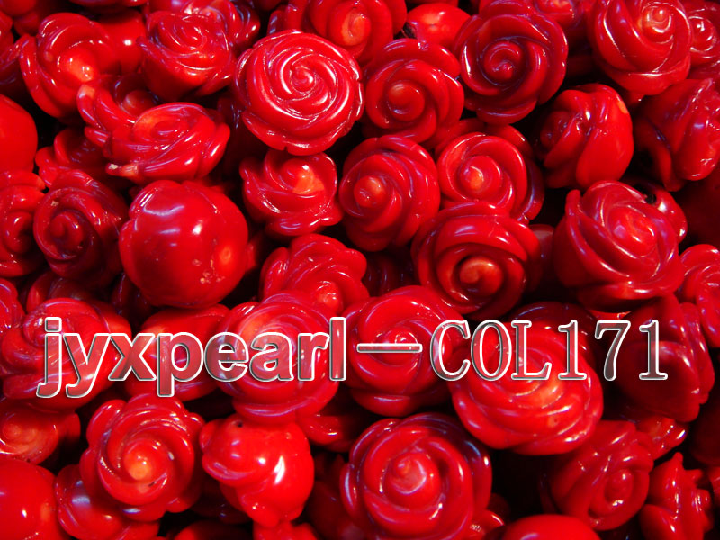 Wholesale 17-18.5mm Flower-shaped Red Loose Coral Beads big Image 2