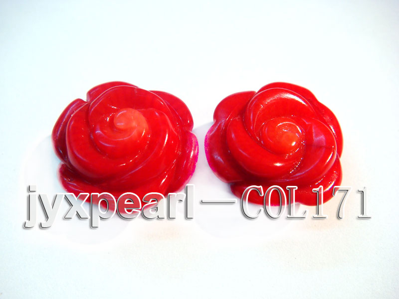 Wholesale 17-18.5mm Flower-shaped Red Loose Coral Beads big Image 3