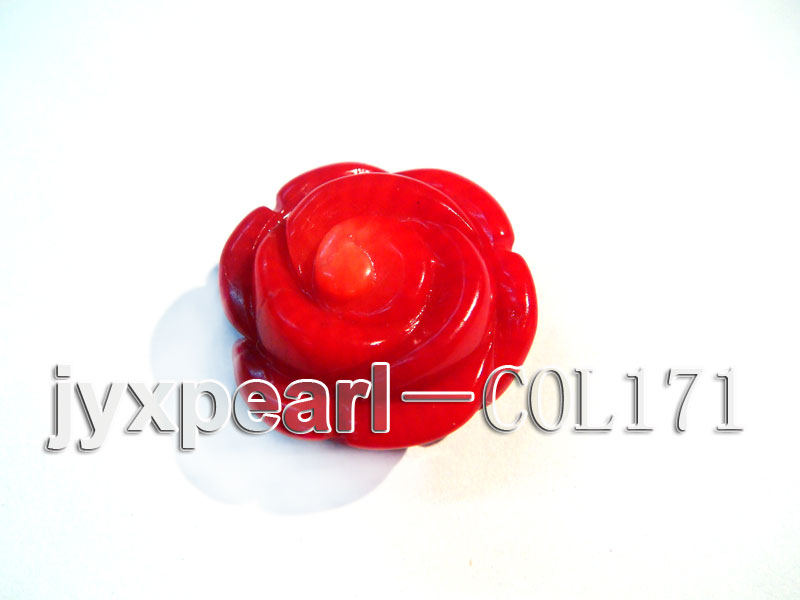 Wholesale 17-18.5mm Flower-shaped Red Loose Coral Beads big Image 4