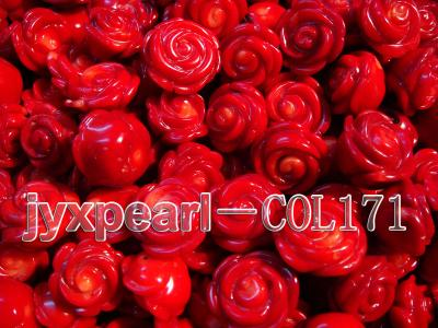 Wholesale 17-18.5mm Flower-shaped Red Loose Coral Beads COL171 Image 2