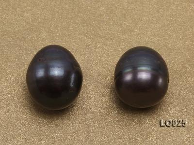 Wholesale 10X11.5-11X13.5mm Black Drop-shaped Loose Freshwater Pearls LO025 Image 2