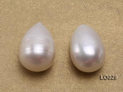 Wholesale Super-size 14x18mm Classic White Drop-shaped Loose Freshwater Pearls LO029 Image 2