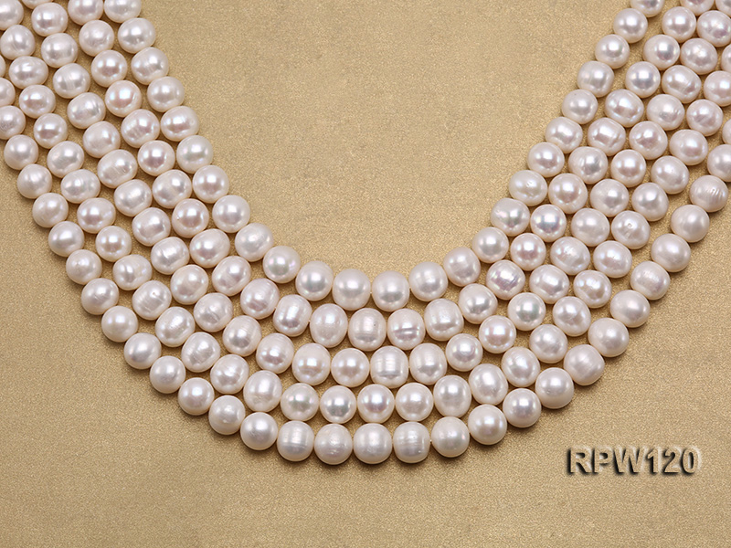 Wholesale 9-10mm Classic White Round Freshwater Pearl String big Image 1