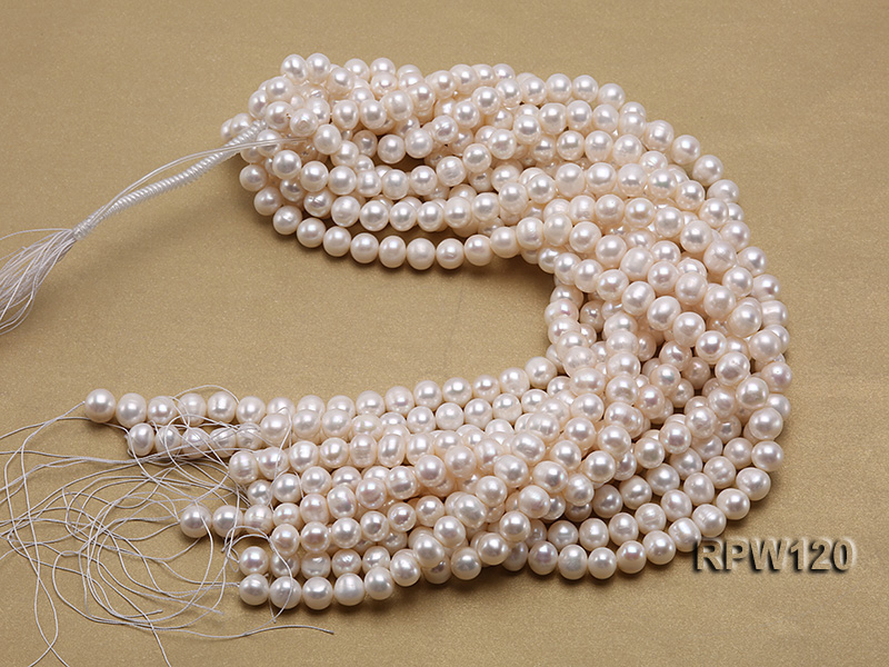 Wholesale 9-10mm Classic White Round Freshwater Pearl String big Image 3
