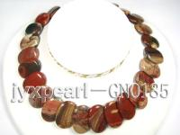 20x30mm Multicolor Oval Agate Disk Necklace GNO185