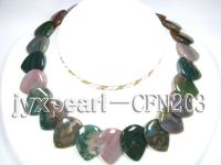 20x30mm Multicolor Pear-Shaped Agate Disk Necklace CFN203