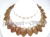 20x30mm Brown Pear-Shaped Agate Disk Necklace CFN206