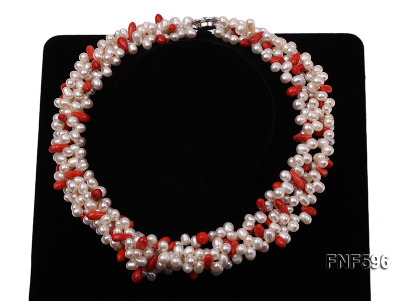 Four-strand 5x7mm White Freshwater Pearl and Red drop-shaped Coral Beads Necklace big Image 2