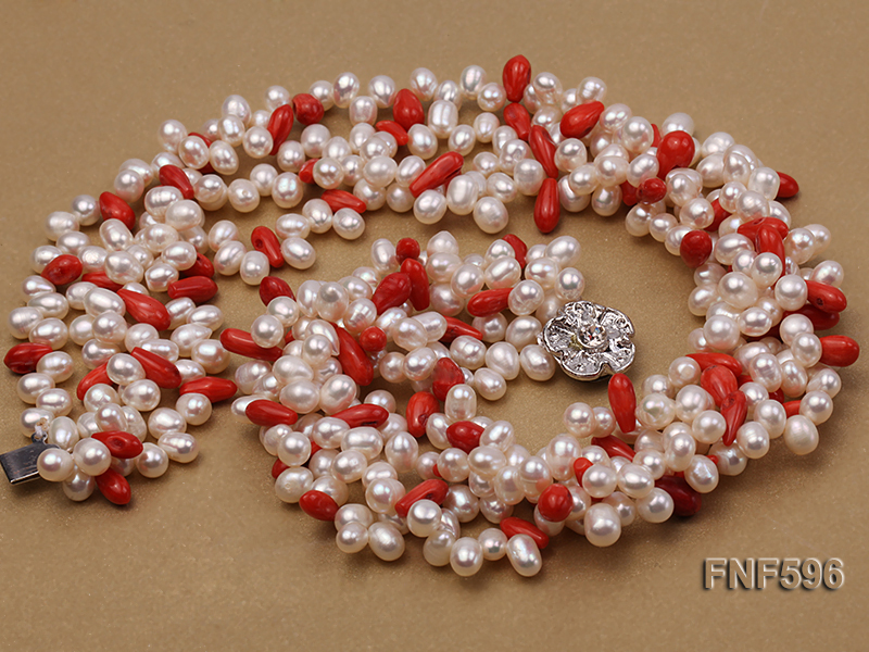 Four-strand 5x7mm White Freshwater Pearl and Red drop-shaped Coral Beads Necklace big Image 3