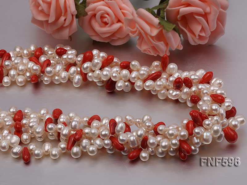 Four-strand 5x7mm White Freshwater Pearl and Red drop-shaped Coral Beads Necklace big Image 4
