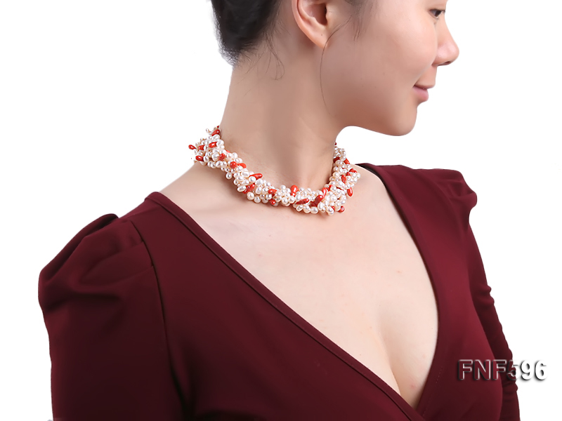 Four-strand 5x7mm White Freshwater Pearl and Red drop-shaped Coral Beads Necklace big Image 6