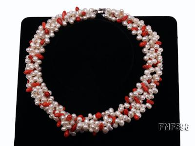 Four-strand 5x7mm White Freshwater Pearl and Red drop-shaped Coral Beads Necklace FNF596 Image 2