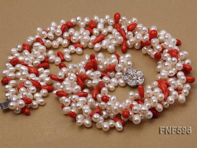 Four-strand 5x7mm White Freshwater Pearl and Red drop-shaped Coral Beads Necklace FNF596 Image 3
