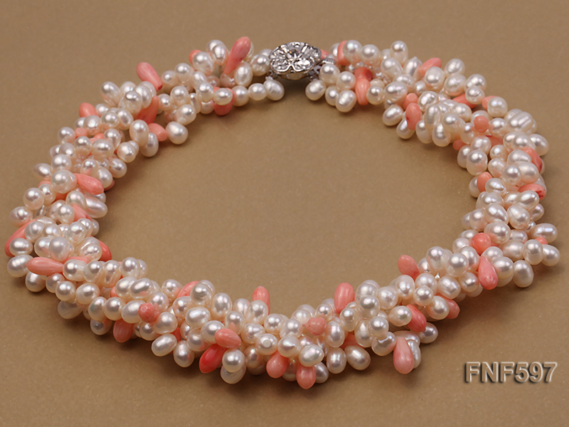 Four-strand 5x7mm White Freshwater Pearl and Pink drop-shaped Coral Beads Necklace big Image 1