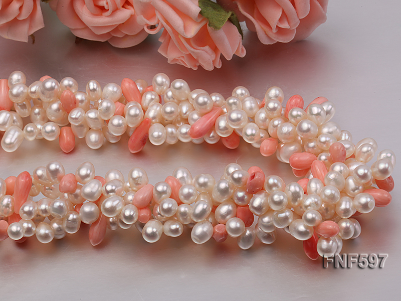 Four-strand 5x7mm White Freshwater Pearl and Pink drop-shaped Coral Beads Necklace big Image 2