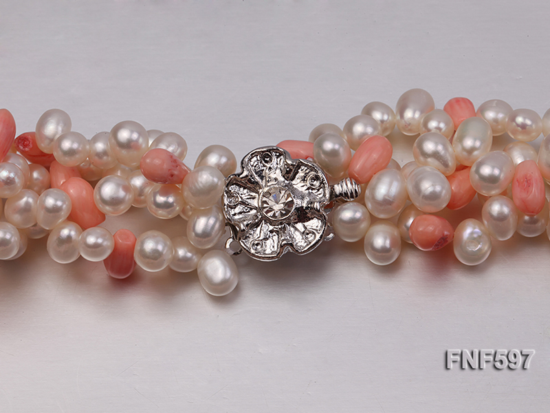 Four-strand 5x7mm White Freshwater Pearl and Pink drop-shaped Coral Beads Necklace big Image 3