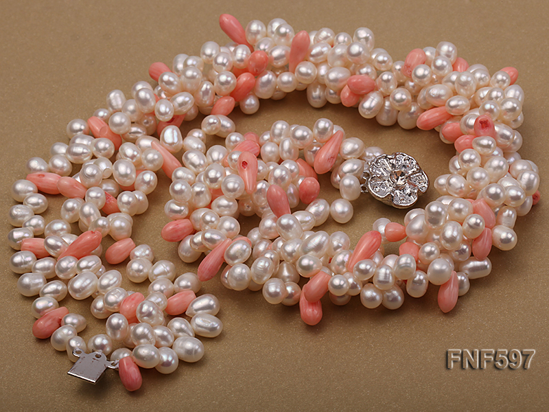 Four-strand 5x7mm White Freshwater Pearl and Pink drop-shaped Coral Beads Necklace big Image 4