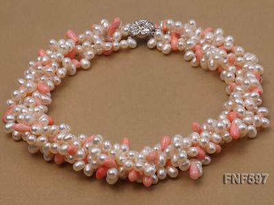 Four-strand 5x7mm White Freshwater Pearl and Pink drop-shaped Coral Beads Necklace FNF597 Image 1