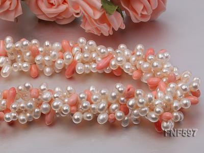 Four-strand 5x7mm White Freshwater Pearl and Pink drop-shaped Coral Beads Necklace FNF597 Image 2