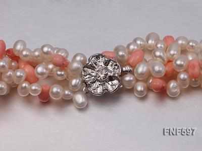 Four-strand 5x7mm White Freshwater Pearl and Pink drop-shaped Coral Beads Necklace FNF597 Image 3