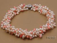 Four-strand 5x7mm White Freshwater Pearl and Pink drop-shaped Coral Beads Necklace FNF597
