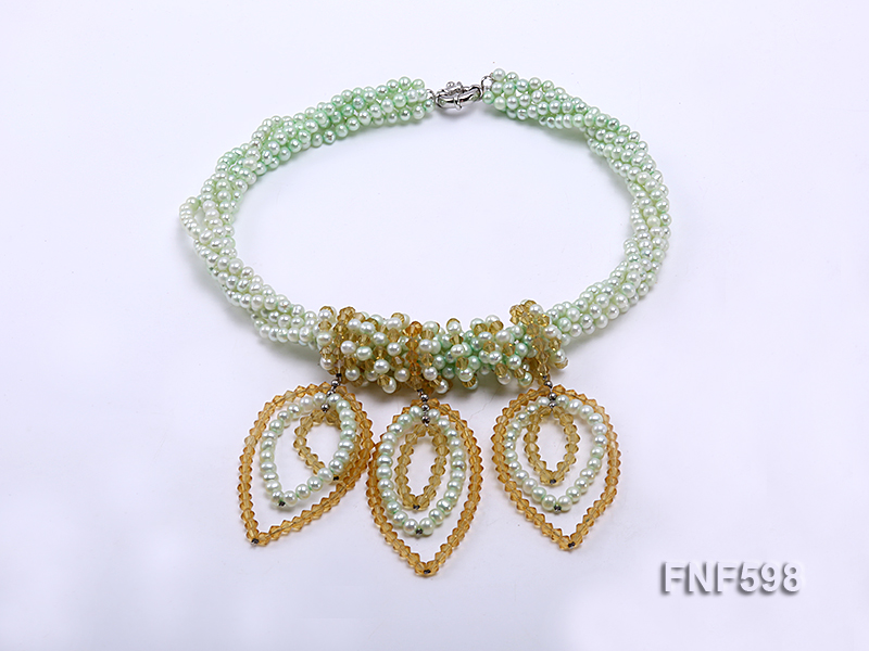 Five-strand Green Freshwater Pearl and Yellow Faceted Crystal Beads Necklace big Image 2