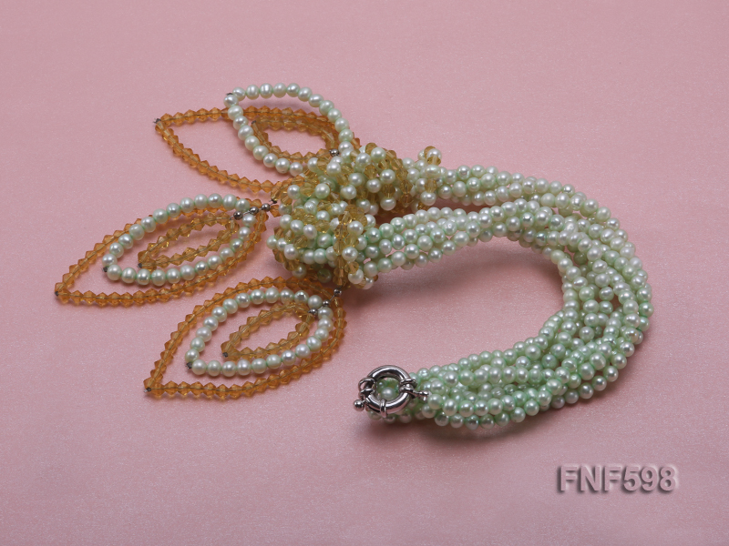 Five-strand Green Freshwater Pearl and Yellow Faceted Crystal Beads Necklace big Image 3