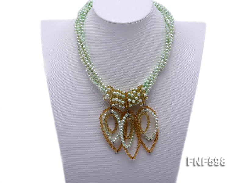 Five-strand Green Freshwater Pearl and Yellow Faceted Crystal Beads Necklace big Image 1