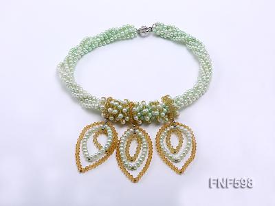 Five-strand Green Freshwater Pearl and Yellow Faceted Crystal Beads Necklace FNF598 Image 2