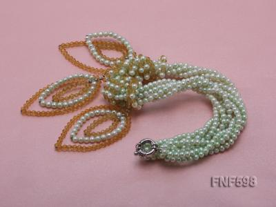 Five-strand Green Freshwater Pearl and Yellow Faceted Crystal Beads Necklace FNF598 Image 3