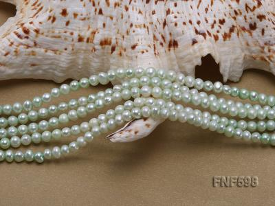 Five-strand Green Freshwater Pearl and Yellow Faceted Crystal Beads Necklace FNF598 Image 4