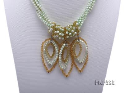 Five-strand Green Freshwater Pearl and Yellow Faceted Crystal Beads Necklace FNF598 Image 5