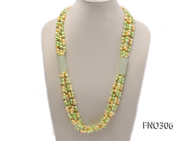 7-8mm yellow and green freshwater pearl and crystal five-strand necklace big Image 1