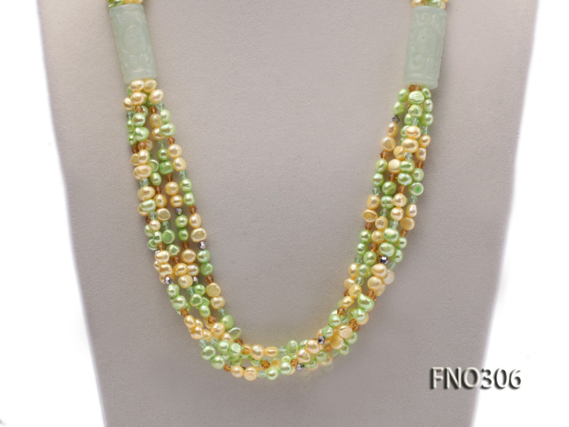 7-8mm yellow and green freshwater pearl and crystal five-strand necklace big Image 2