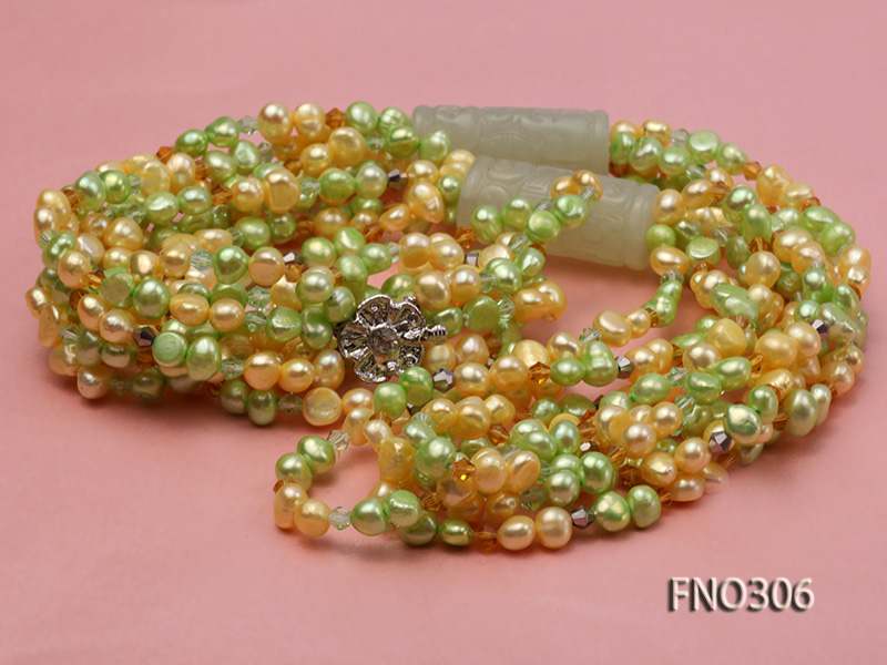 7-8mm yellow and green freshwater pearl and crystal five-strand necklace big Image 3