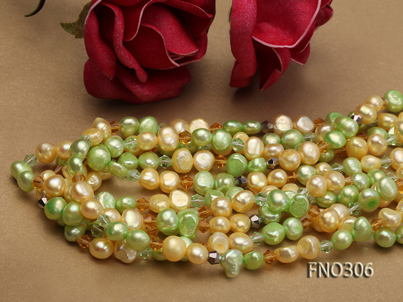 7-8mm yellow and green freshwater pearl and crystal five-strand necklace big Image 4