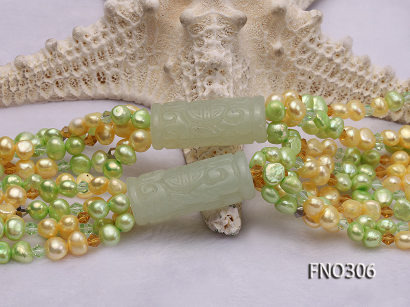 7-8mm yellow and green freshwater pearl and crystal five-strand necklace big Image 5