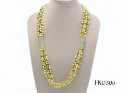 7-8mm yellow and green freshwater pearl and crystal five-strand necklace FNO306 Image 1