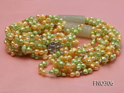 7-8mm yellow and green freshwater pearl and crystal five-strand necklace FNO306 Image 3