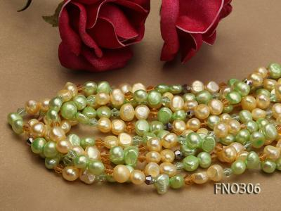7-8mm yellow and green freshwater pearl and crystal five-strand necklace FNO306 Image 4