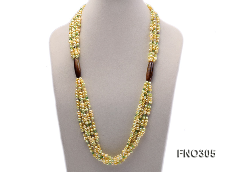 7-8mm yellow flat freshwater pearl and crystal five-strand necklace big Image 1