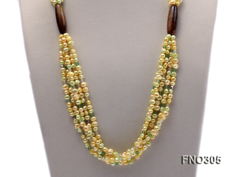 7-8mm yellow flat freshwater pearl and crystal five-strand necklace big Image 2